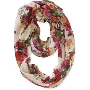 Accessories - NWOT white colorful floral print infinity scarf